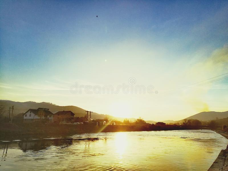 Beautiful sunlight over river royalty free stock photo