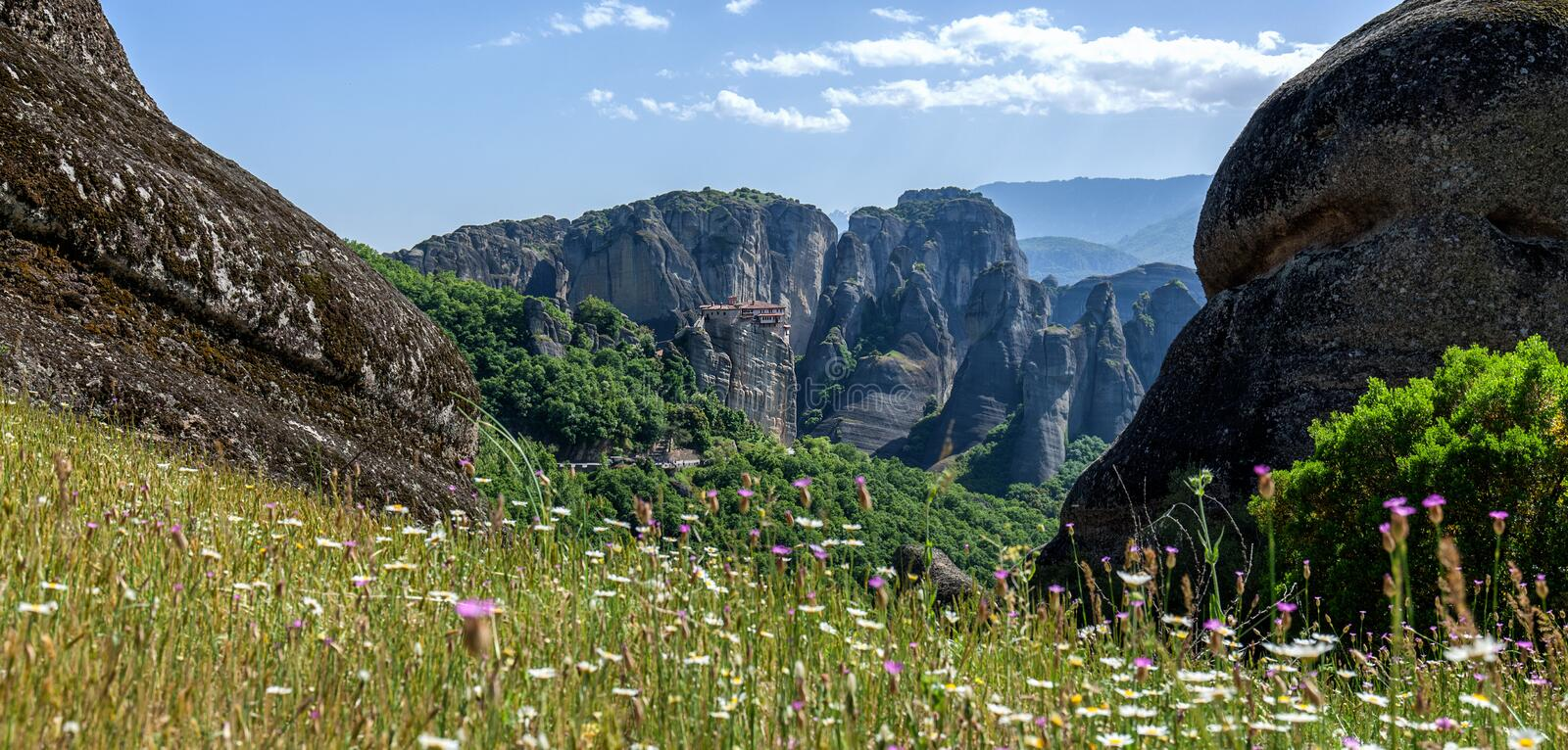 Beautiful landscape of Meteora at a spring sunny day stock photos