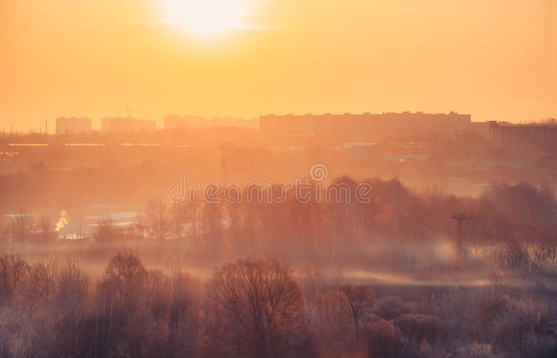 Beautiful sunny landscape with forest and city buildings on the horizon in the frosty winter morning. Sun rays and clear sky stock photo