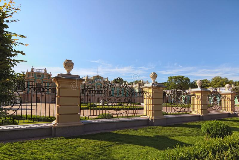 Beautiful sunny landscape view of Mariinsky Palace after reconstruction. Famous touristic place and romantic travel destination. stock photography