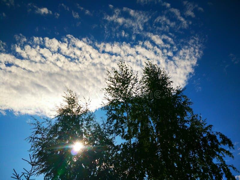 Beautiful sunny sky with clouds in Togliatti, Samara Region. Красивое солнечное небо с облаками в Тольятти Самарская область stock photos