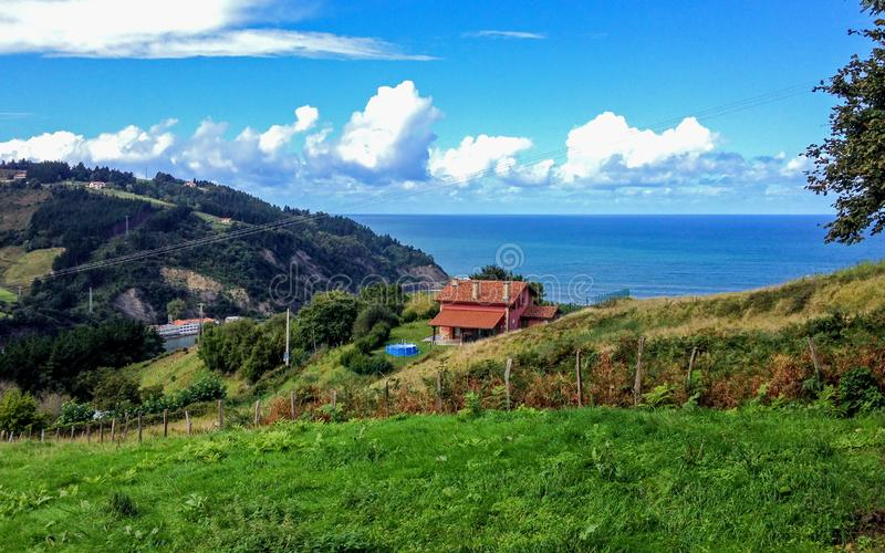 Beautiful sunny view on the sea near Deba, Basque Country, pilgrimage route Saint James Way, Northern coast of Spain. Beautiful sunny view on the sea near Deba stock photography