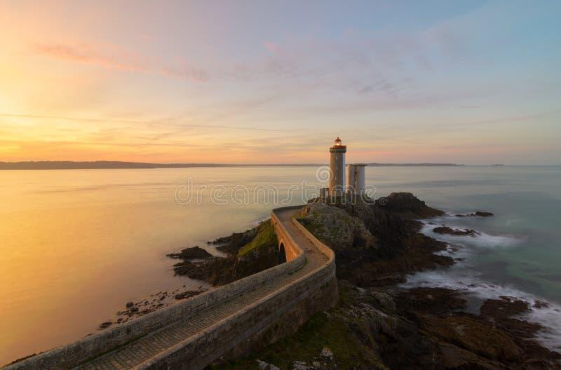 Beautiful sunrise at Le Petit Minou Lighthouse royalty free stock image