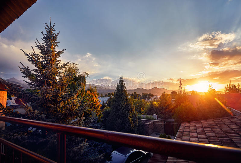 Beautiful sunrise from the balcony stock photography