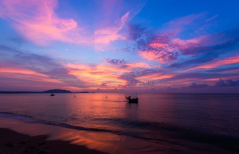 Beautiful sunrise and boats in Mui Ne, Vietnam stock photos
