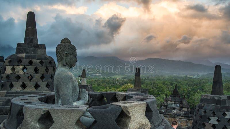 Borobudur, Java, Indonesia. The beautiful sunrise in Borobudur, Yogyakarta royalty free stock images