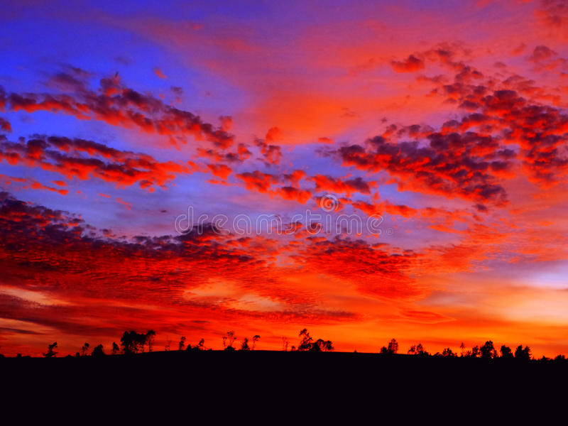 Beautiful sunrise. Bright orange sunset landscape royalty free stock photos