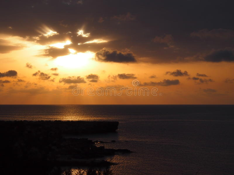 Beautiful sunrise at Cyprus with sea royalty free stock image