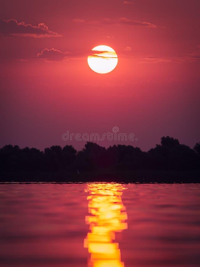 Beautiful sunrise in the Danube Delta, Romania royalty free stock photography