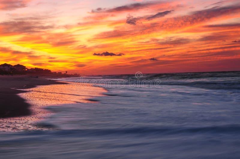 A Beautiful Sunrise At Emerald Isle, Southern Outer Banks, North. Sunrise On Emerald Isle, North Carolina stock photo