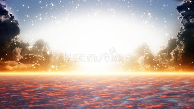 Beautiful sunrise, heaven. Peaceful background - beautiful sunrise, bright sun beam, heaven royalty free stock photo
