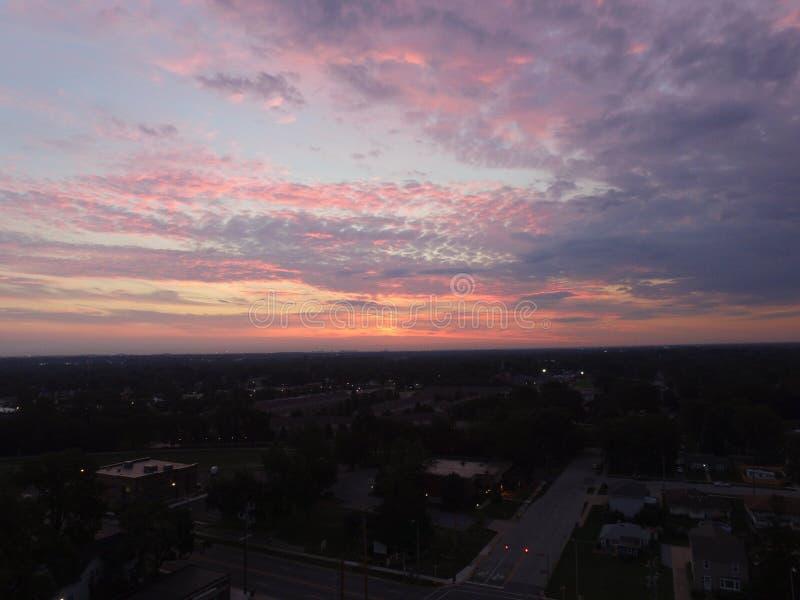 A beautiful sunrise in Highland Indiana. Drone video of the sunrise from Highland Indiana royalty free stock photo