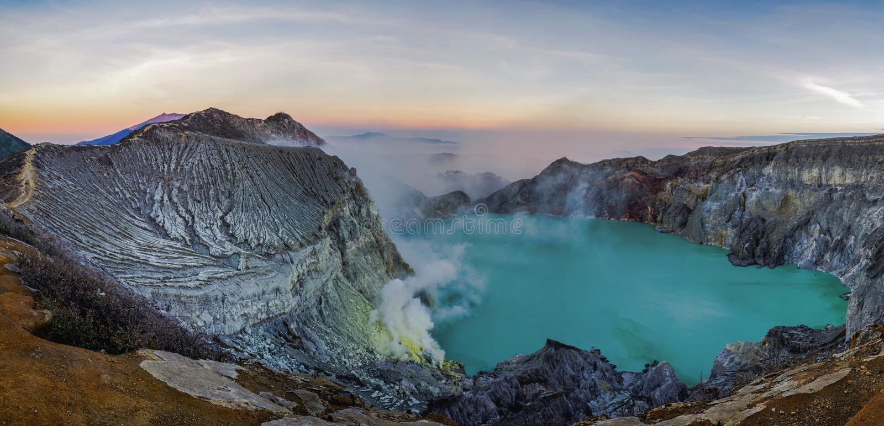 Mountain Ijen, Java, Indonesia. The beautiful sunrise in Ijen stock photography