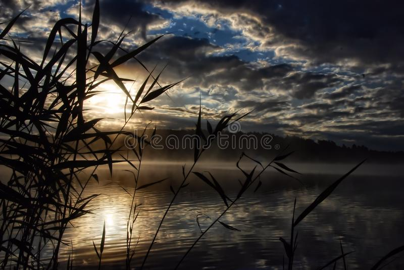 Sunrise on lake Siecino in Poland royalty free stock photography