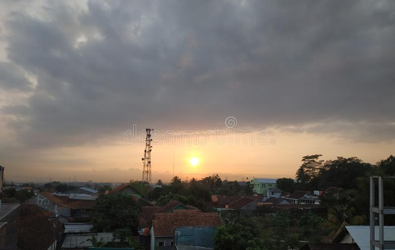Beautiful Sunrise Landscape in A Small City royalty free stock photo