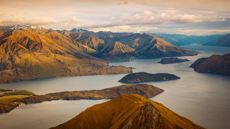 Beautiful sunrise landscape view from Roy`s peak, New Zealand stock image