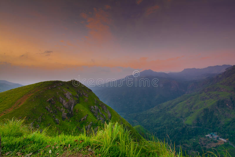 Beautiful sunrise at little Adams peak in Ella, Sri Lanka. Ella is a great location for viewing some of the best natural scenery in Sri Lanka royalty free stock images
