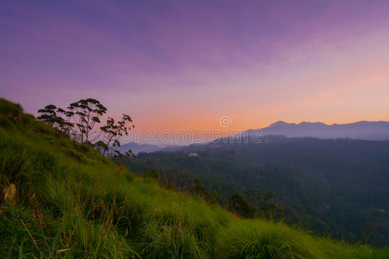 Beautiful sunrise at little Adams peak in Ella, Sri Lanka. Ella is a great location for viewing some of the best natural scenery in Sri Lanka royalty free stock photo