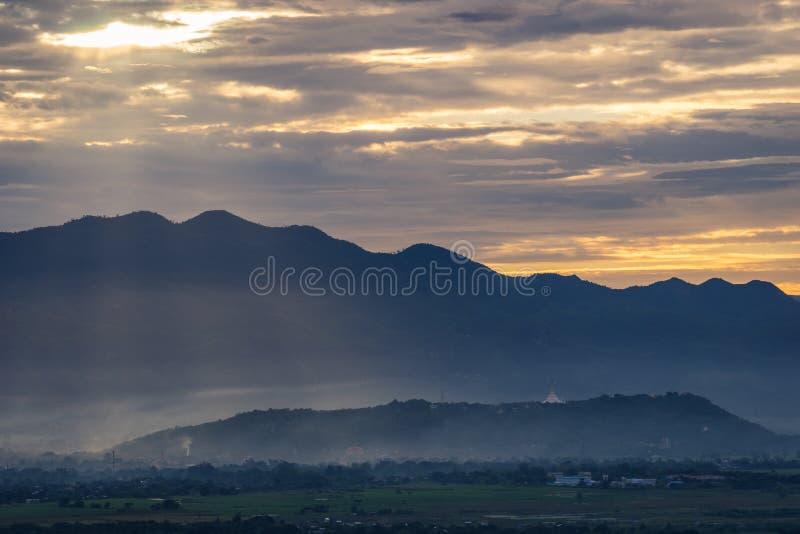 Beautiful sunrise at Mandalay city, Myanmar. Asia stock image