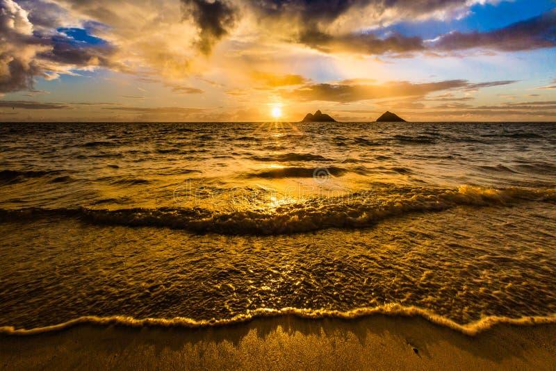 Sunrise at Lanikai Beach in Kailua Oahu Hawaii royalty free stock photo