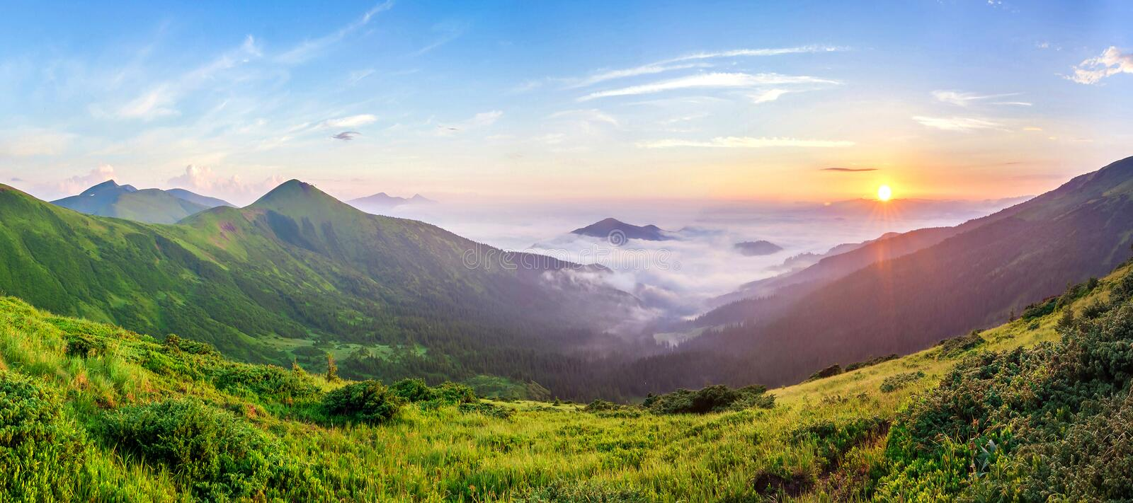 Beautiful sunrise in mountains with white fog below panorama.  royalty free stock images