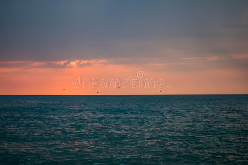 A beautiful sunrise on the ocean. Boat and rocks near the shore. swans in flight stock images