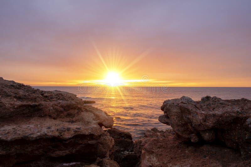 A beautiful sunrise in Oropesa, Costa Azahar stock photos