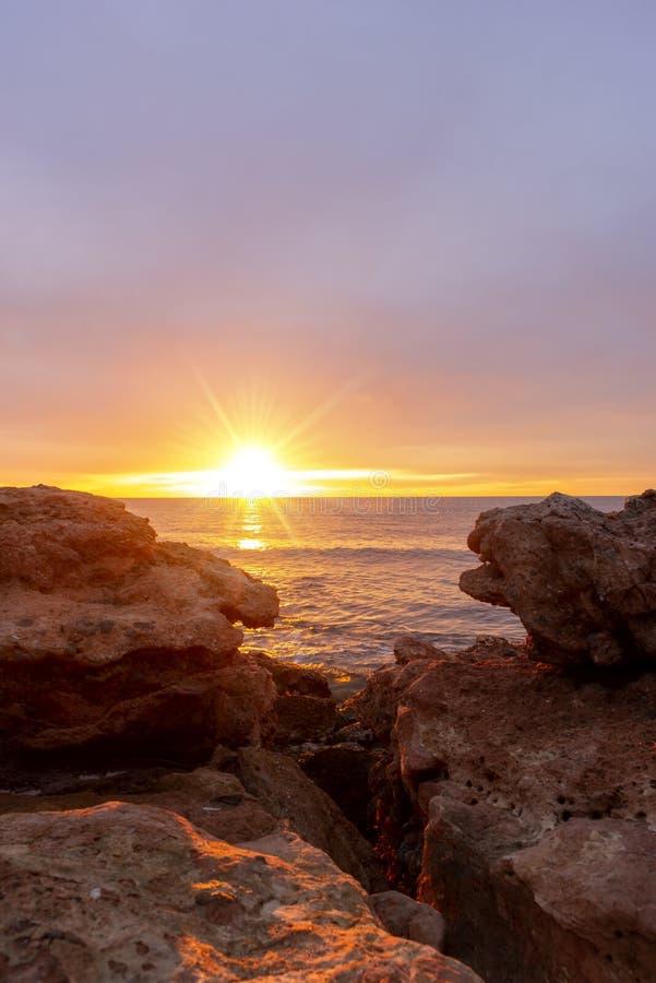 A beautiful sunrise in Oropesa, Costa Azahar royalty free stock photo