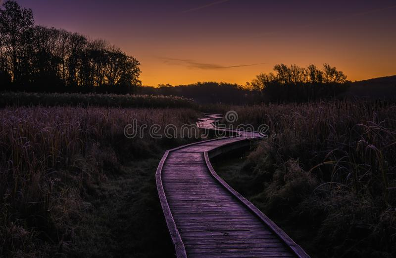 Stairway to heaven, New Jersey. Beautiful sunrise over the boardwalk in Wawayanda state park. Stairway to heaven is 2.9 miles long hiking trail via Appalachian stock photos