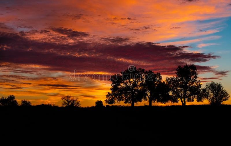 Colorful Sunrise in Eastern Colorado stock images