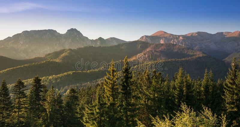 Beautiful sunrise over Giewont and Tatra Mountains in Zakopane, Poland stock photos