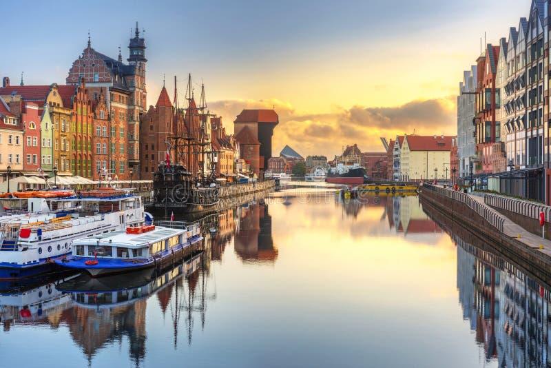 Beautiful sunrise over Motlawa river in Gdansk. Poland royalty free stock photos