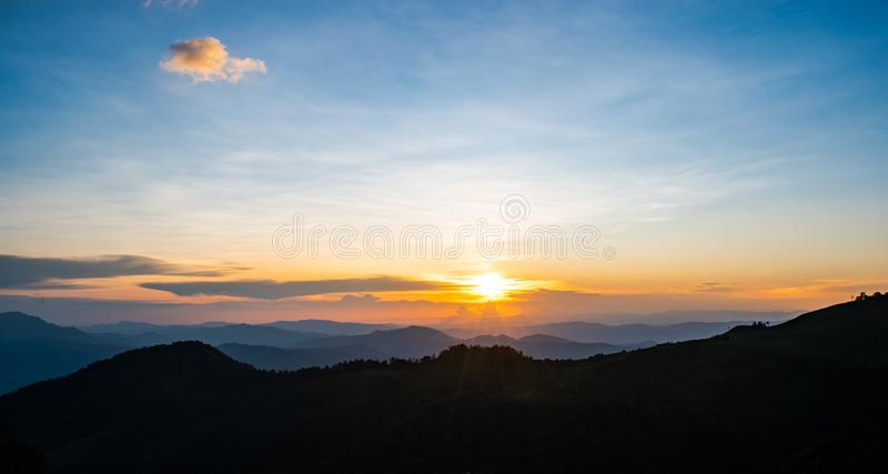 Beautiful sunrise over the mountains landscape of Thailand at Phu Soi Dao, Nampad, Uttaradit province northern of Thailand. royalty free stock images