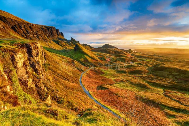 Beautiful sunrise over the Quiraing on the Isle of Skye. In Scotland stock photos