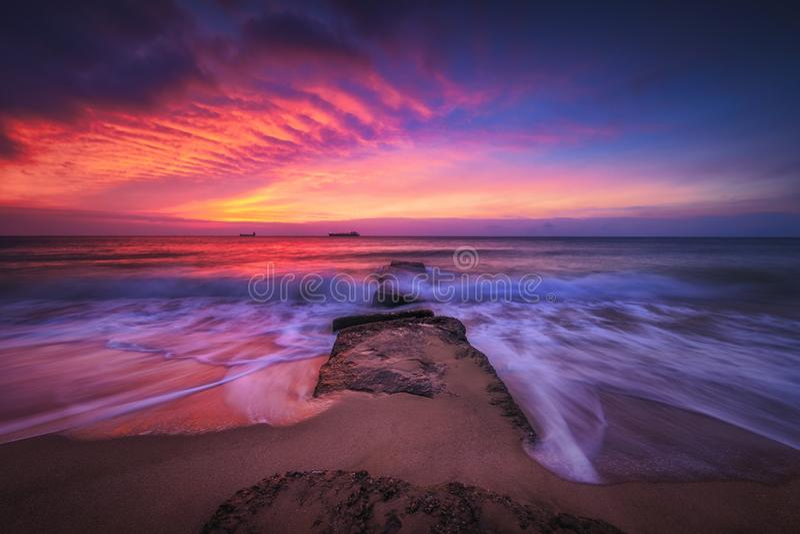 Beautiful sunrise over the sea. Beautiful cloudscape over the sea, sunrise shot royalty free stock photography