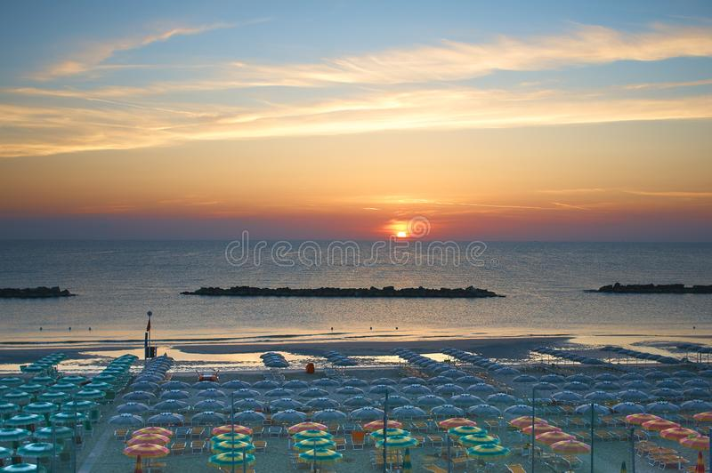 Beautiful sunrise over the sea. The concept of a summer holiday. royalty free stock images