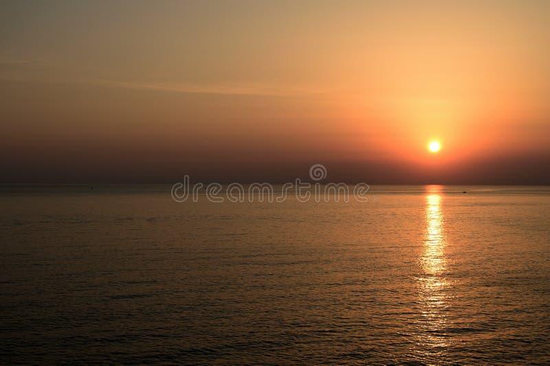 Beautiful sunrise over the sea near the city of Cefalu. Sicily royalty free stock photo