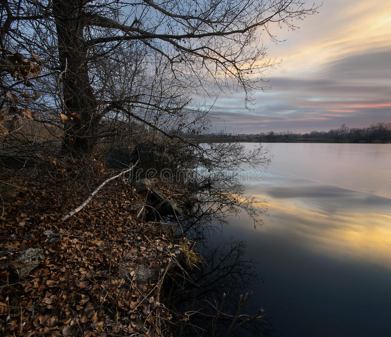 Beautiful sunrise on the pond. Tranquillity. Beautiful sunrise on the pond. Dnepropetrovsk Ukraine stock images
