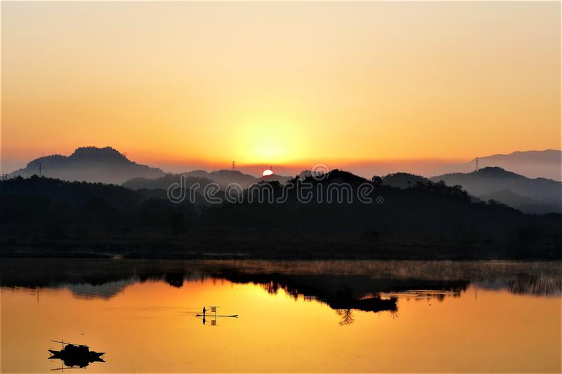 Beautiful sunrise and reflection royalty free stock photography
