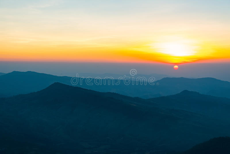 Beautiful sunrise. Beautiful sun rise on top of the mountain stock images