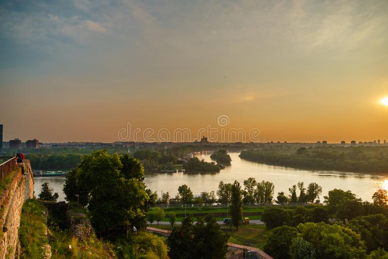 Junction of the Danibe and Sava rivers viewed from the fortress of Belgrade stock photos