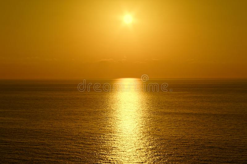 Beautiful sunset above the tyrrhenian sea. View from Riaci beach near Tropea, Italy royalty free stock photo
