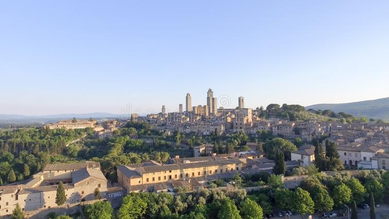 Beautiful sunset aerial view of San Gimignano, small medieval to royalty free stock images