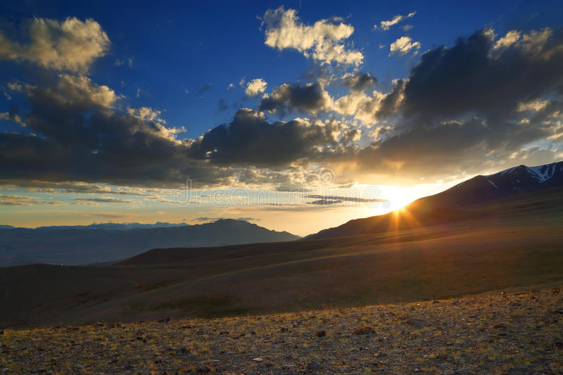 Beautiful sunset in Altai mountains stock photos