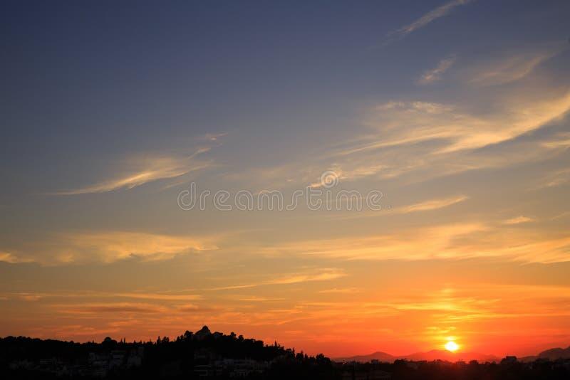Beautiful sunset background. Athens, Greece. royalty free stock photography