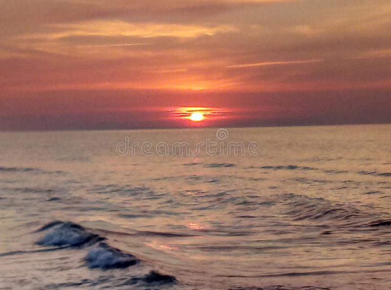 Beautiful sunset on baltic sea royalty free stock photography