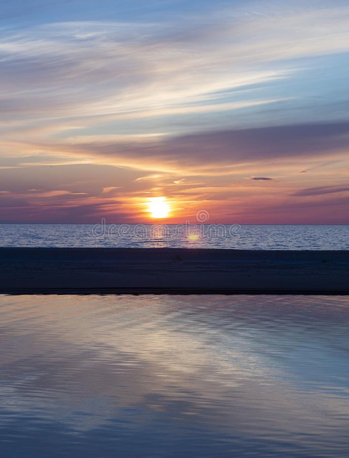 Beautiful sunset on the Baltic Sea, Latvia, beautiful places of the Baltic states. stock images