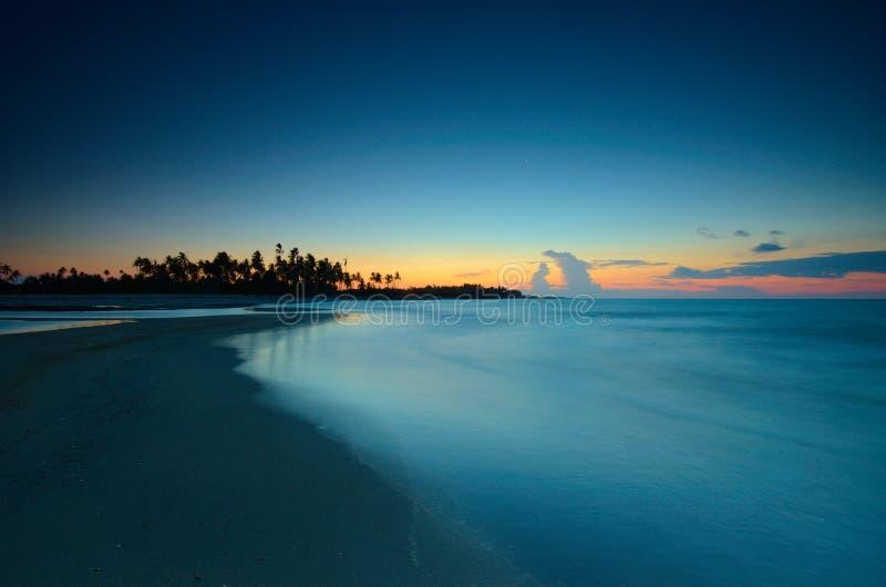 The beautiful sunset at beach. Beautiful sunset beach sunrise blue sky long exposure stock photos