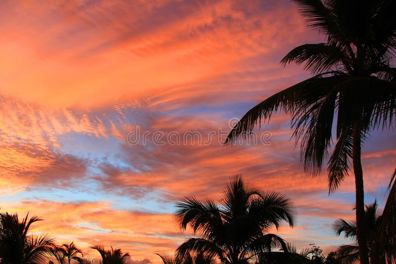 Beautiful sunset. Sky at summer evening. Dominican Republic stock photo