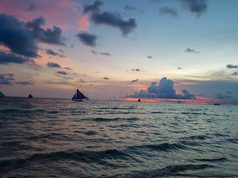 Boracay sunset with sea background royalty free stock images